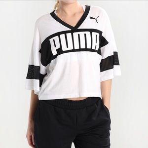 Puma pencil skirt and jersey crop top.